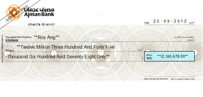 Printed Cheque of Ajman Bank in UAE