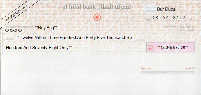 Printed Cheque of Al Hilal Bank (Personal) in UAE