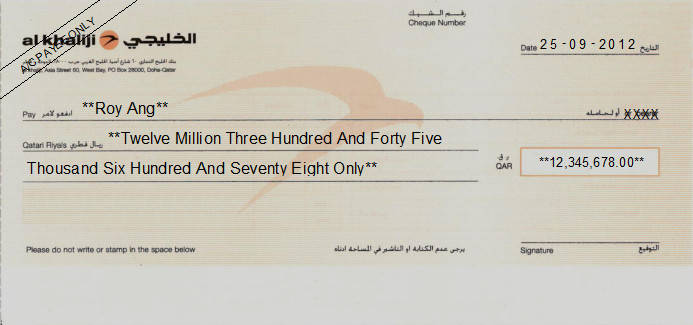 Printed Cheque of Al Khaliji Bank in Qatar