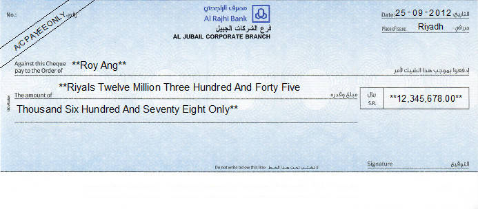Printed Cheque of Al Rajhi Bank in Saudi Arabia