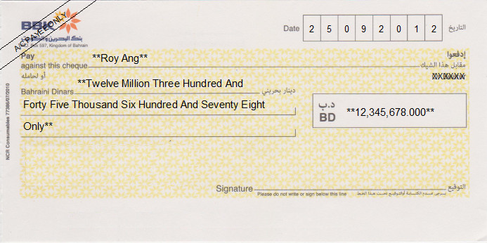 Printed Cheque of BBK Bank in Bahrain