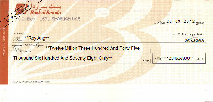 Printed Cheque of Bank of Baroda UAE