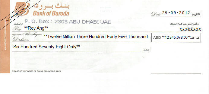 Printed Cheque of Bank of Baroda (Personal) UAE