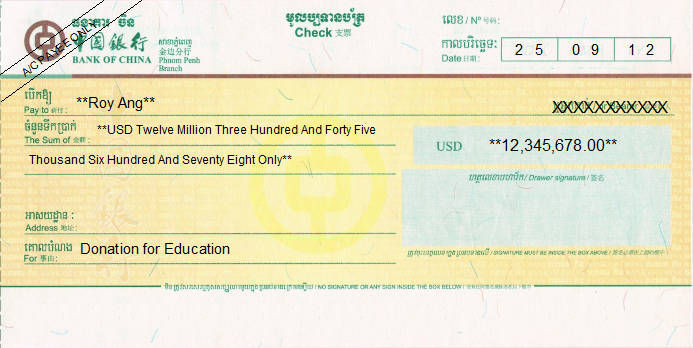 Printed Cheque of Bank of China in Cambodia