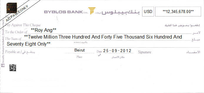 Printed Cheque of Byblos Bank in Lebanon