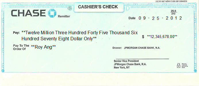 Printed Check of JP Morgan Chase Bank in United States
