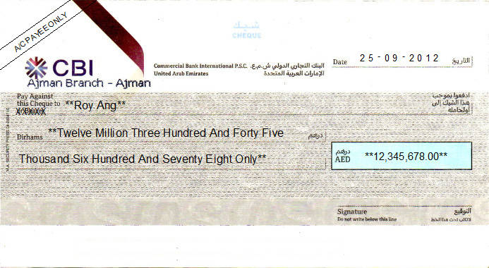 Printed Cheque of Commercial Bank International n UAE