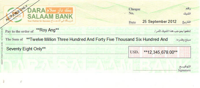 Printed Cheque of Dara Salaam Bank in Somalia