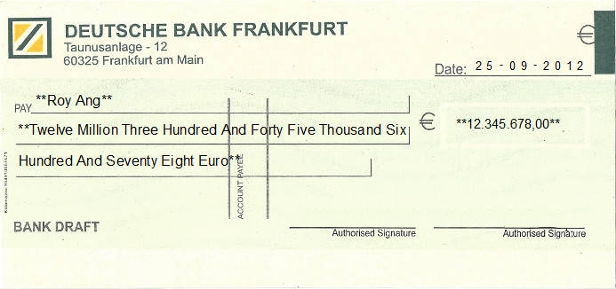 Printed Cheque of Deutsche Bank in Germany