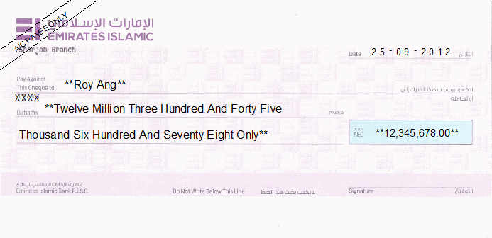 Printed Cheque of Emirates Islamic Bank UAE