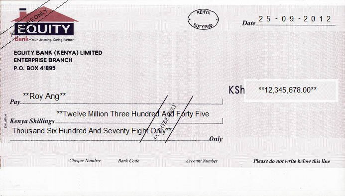 Printed Cheque of Equity Bank in Kenya