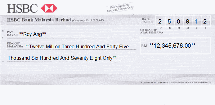 Printed Cheque of HSBC Bank in Malaysia