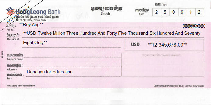 Printed Cheque of Hong Leong Bank (USD) in Cambodia