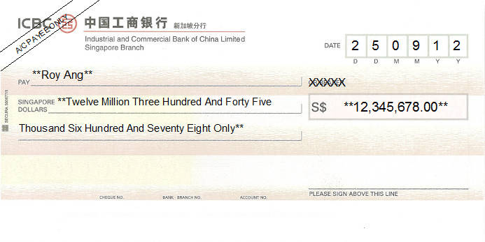 Printed Cheque of ICBC Bank in Singapore