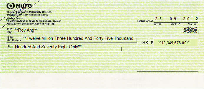 Printed Cheque of MUFG - The Bank of Tokyo-Mitsubishi UFJ in Hong Kong