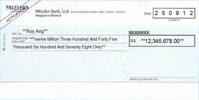 Printed Cheque of Mizuho Bank in Singapore