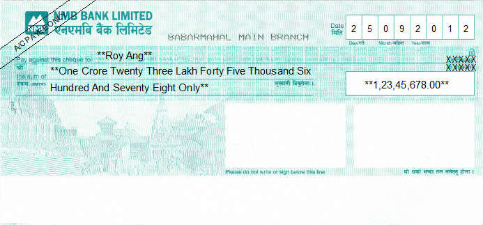 Printed Cheque of NMB Bank in Nepal