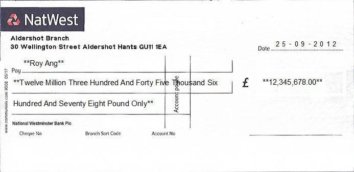 Printed Cheque of NatWest - Personal (National Westminster Bank) in United Kingdom