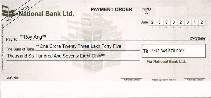 Printed Cheque of National Bank Ltd in Bangladesh