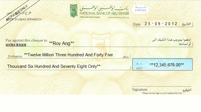 Printed Cheque of National Bank of Abu Dhabi UAE