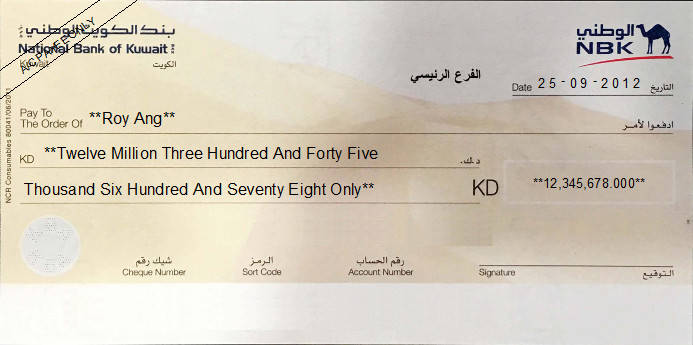 Printed Cheque ofNational Bank of Kuwait