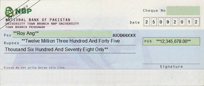 Printed Cheque of National Bank of Pakistan (NBP) in Pakistan