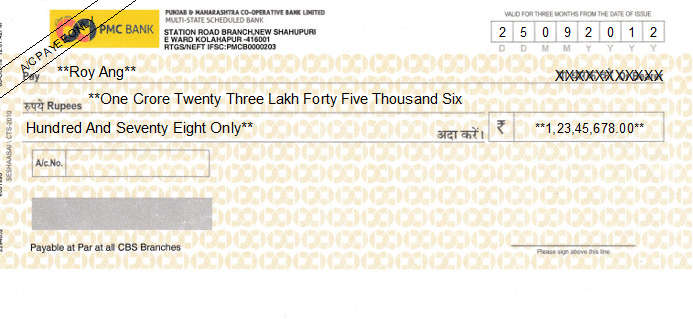 Printed Cheque of PMC Bank - Punjab & Maharashtra Co-operative Bank in India