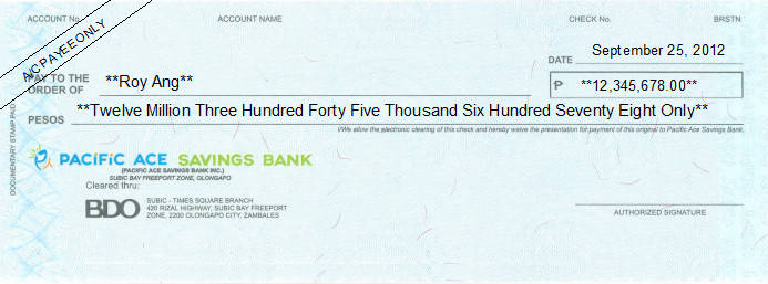 Printed Cheque of Pacific Ace Savings Bank (Personal) in Philippines