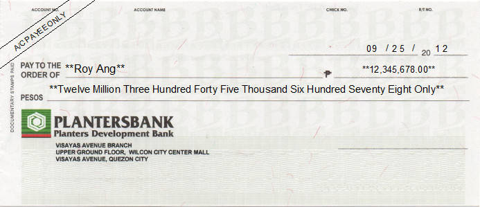 Printed Cheque of Planters Development Bank (Personal) in Philippines