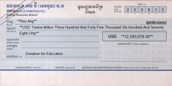 Printed Cheque of RHB Bank (USD) in Cambodia