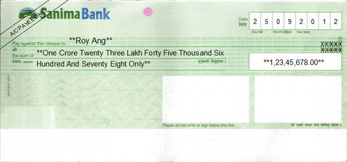 Printed Cheque of Sanima Bank in Nepal