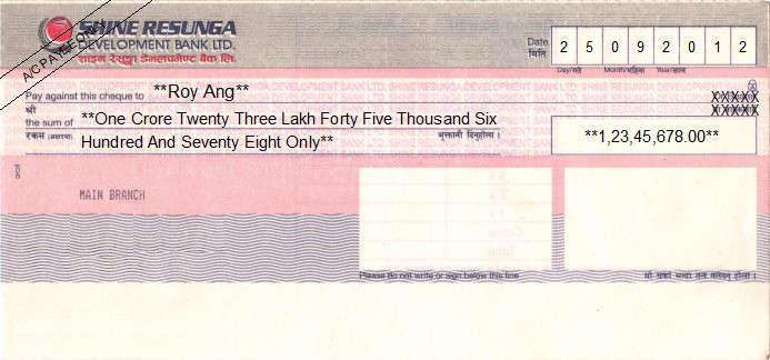 Printed Cheque of Shine Resunga Development Bank in Nepal