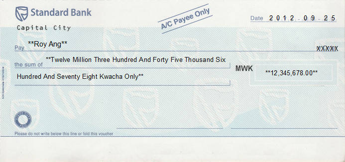 Printed Cheque of Standard Bank in Malawi
