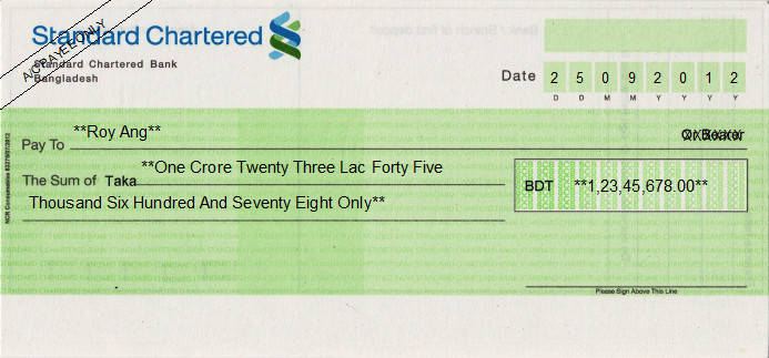 Printed Cheque of Standard Chartered Bank in Bangladesh