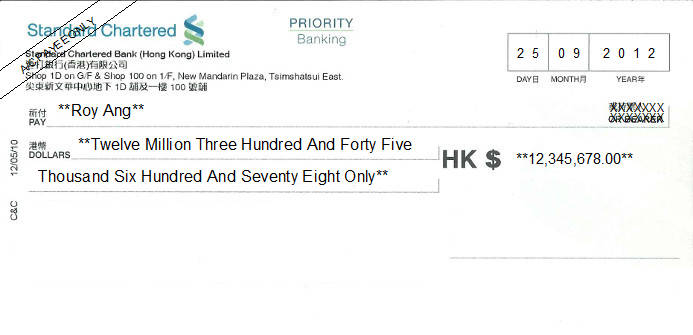 Printed Cheque of Standard Chartered Bank Priority Banking in Hong Kong (香港渣打銀行)