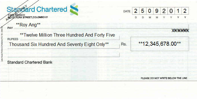 Printed Cheque of Standard Chartered Bank in Sri Lanka