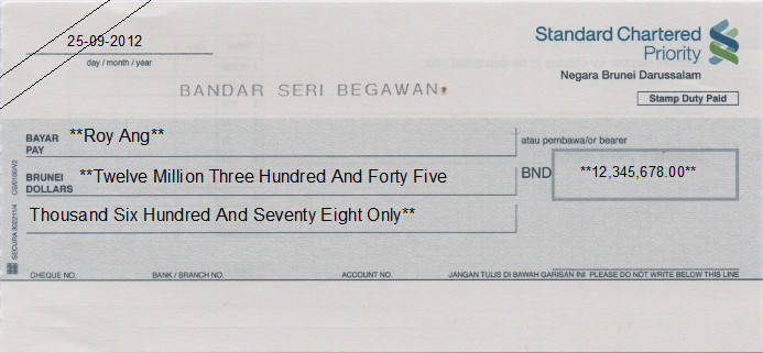 Printed Cheque of Standard Chartered Bank (Priority) in Brunei