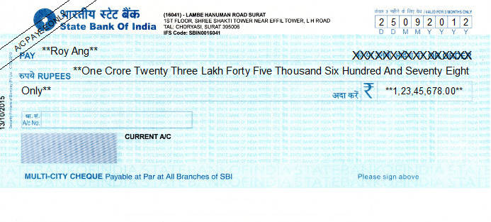 Printed Cheque of State Bank of India