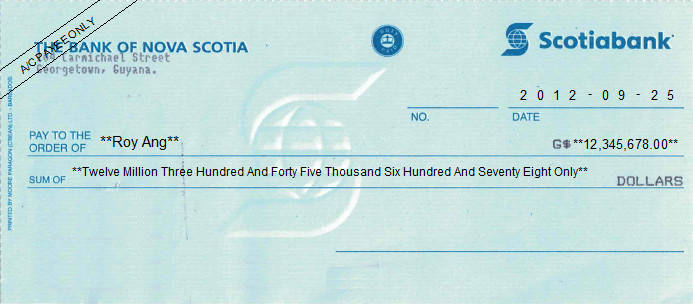 Printed Cheque of The Bank of Nova Scotia in Guyana