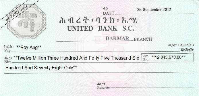 Printed Cheque of United Bank S.C. in Ethiopia