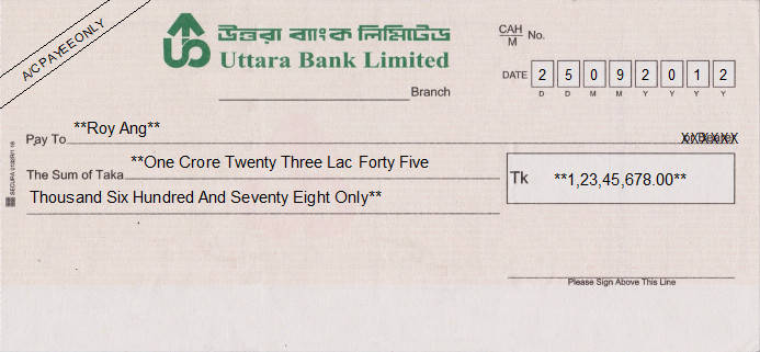 Printed Cheque of Uttara Bank in Bangladesh
