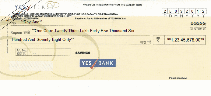 Printed Cheque of YES Bank - First Savings in India