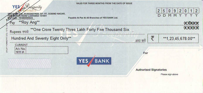 Printed Cheque of YES Bank - Prosperity Business in India